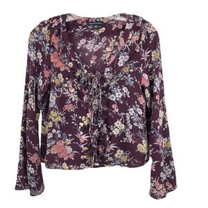 American Eagle Floral Top Lace Up Neck Bell Sleeve